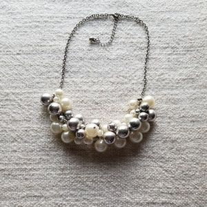 Off White, Silver & Matted Silver Bauble Necklace